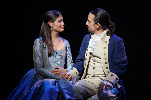 Philippa Soo and Lin-Manuel Miranda as Hamilton's original Eliza and Alexander Hamilton.