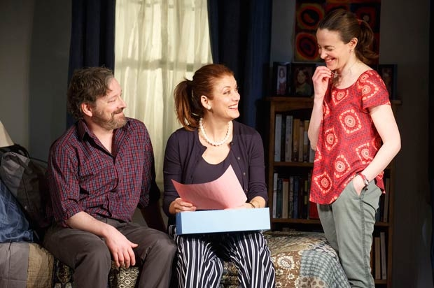 Jeremy Shamos (left), Kate Walsh (center), and Maria Dizzia (right) in Roundabout Theatre Company's world premiere production of If I Forget earlier this year. Starting September 21, BroadwayHD will make Steven Levenson's play available to stream online.