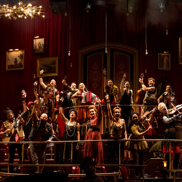 The cast of The Great Comet onstage at Broadway's Imperial Theatre.