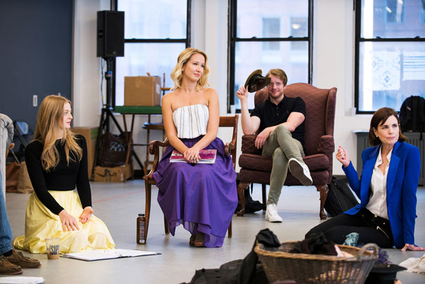 Anna Baryshnikov, Anna Camp, Matthew James Thomas, and Elizabeth McGovern rehearse Time and the Conways, directed by Rebecca Taichman.