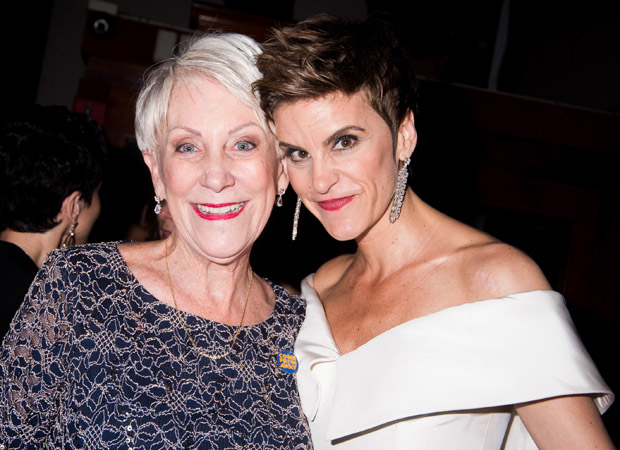 Beverley Bass and Jenn Colella pose together at the Come From Away Tony Awards party.