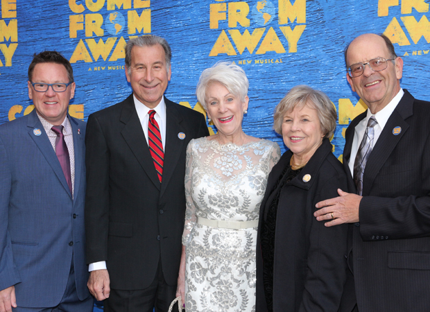 Real-life Come From Away inspirations Kevin Tuerff, Tom Stawicki, Beverley Bass, Diane Marson, and Nick Marson at the musical's opening night celebration.