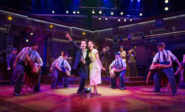 Corey Cott and Laura Osnes in Bandstand at Broadway's Bernard B. Jacobs Theatre.