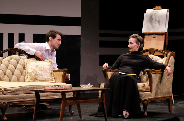Conrad Ardelius and Dee Pelletier star in The Baroness: Isak Dinesen's Final Affair, directed by Henning Hegland, at the Clurman Theatre.