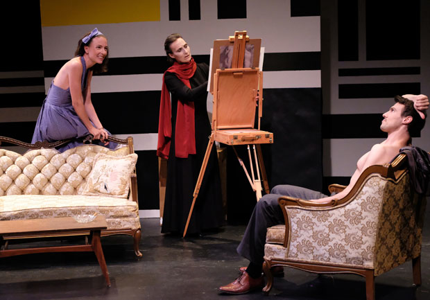 Vanessa Johansson, left, watches as Dee Pelletier, center, draws Conrad Ardelius, right, in The Baroness: Isak Dinesen's Final Affair.