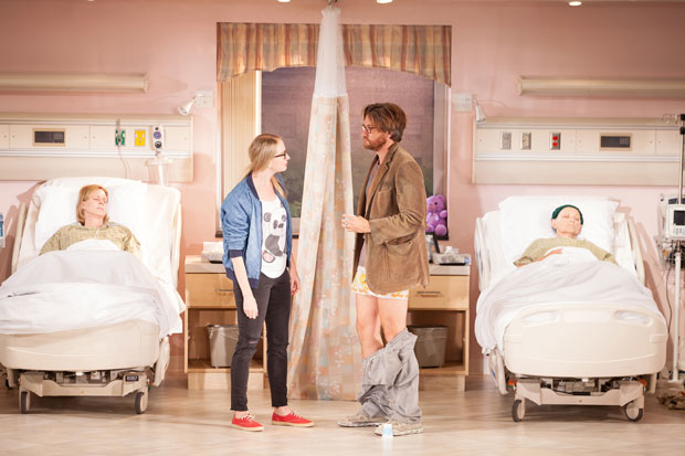 JoBeth Williams, Halley Feiffer, Jason Butler Harner, and Eileen T'Kaye in a scene from A Funny Thing Happened..., directed by Trip Cullman, at the Geffen Playhouse.