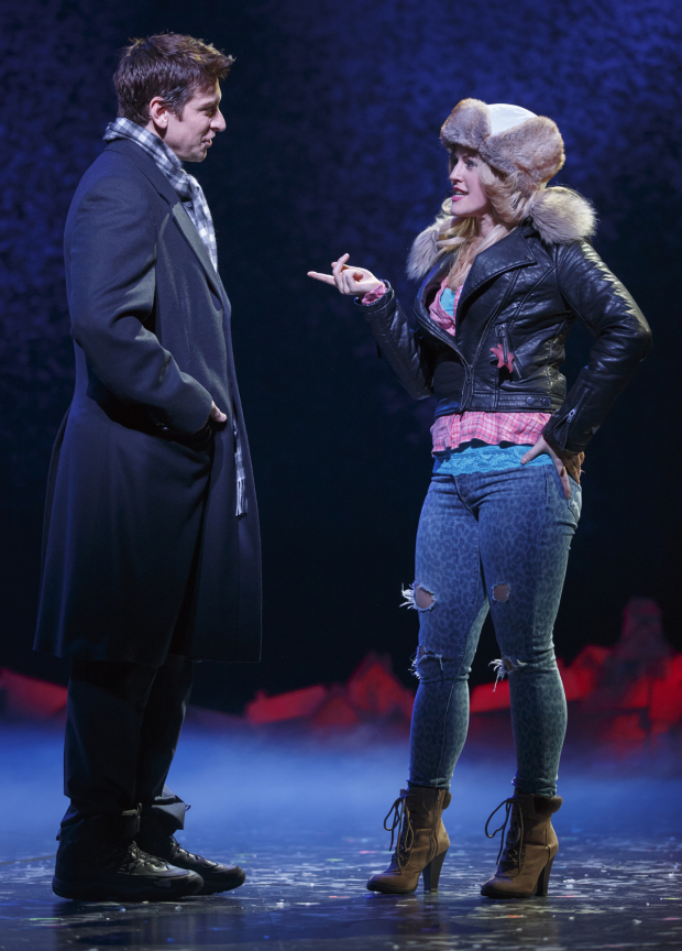 Andy Karl and Rebecca Faulkenberry in the new musical Groundhog Day.