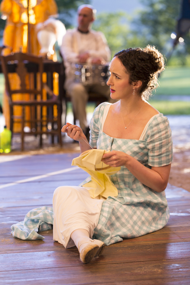 Kate Hamill stars as Lizzy Bennet in her adaptation of Jane Austen's Pride and Prejudice, directed by Amanda Dehnert, at the Hudson Valley Shakespeare Festival.