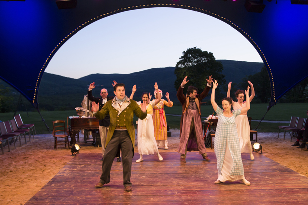 Jason O'Connell and Kate Hamill lead the cast of Pride and Prejudice at the Hudson Valley Shakespeare Festival.