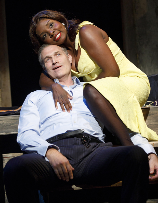 Marc Kudisch and Joaquina Kalukango star in Suzan-Lori Parks's F**king A, directed by Jo Bonney, at Signature Theatre.