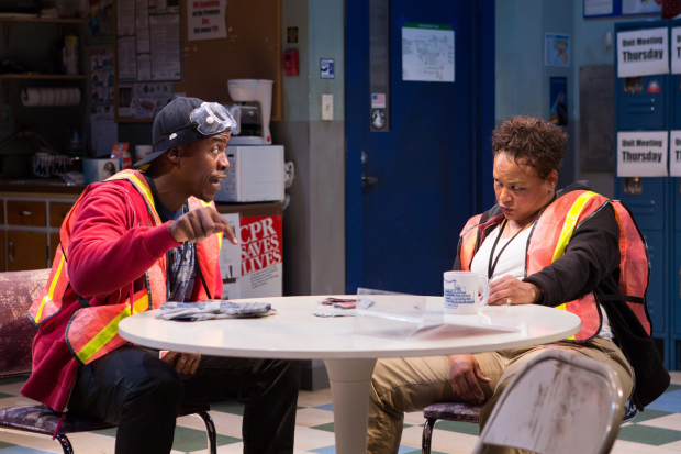 Jason Bowen and Caroline Stefanie Clay in Skeleton Crew, directed by Patricia McGregor, at Studio Theatre.