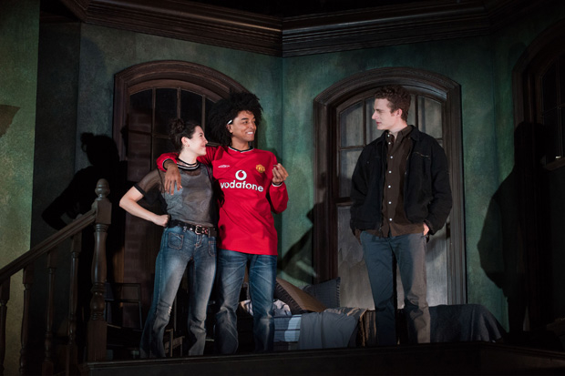 Tedra Millan, Odiseas Georgiadis, and Ben Rosenfield star in Simon Stephens's On the Shore of the Wide World, directed by Neil Pepe, at Atlantic Theater Company.