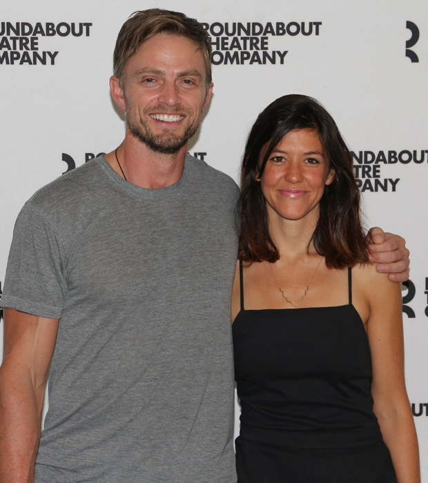 Costars Wilson Bethel (Tim) and Zoë  Winters (Mallory) stop for a photo together.