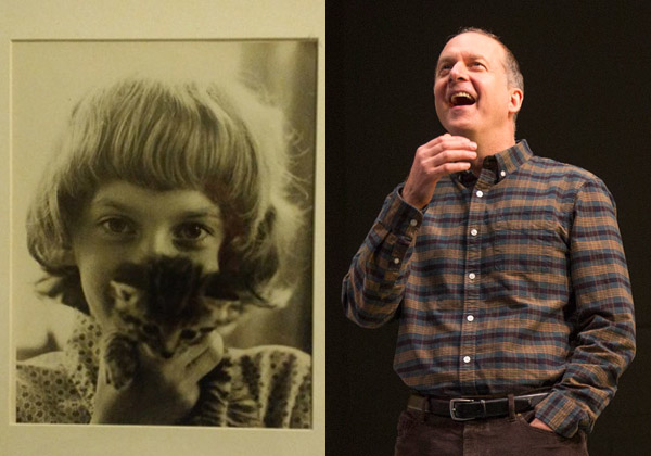 Daniel Jenkins as a child (left) and in a scene from For Peter Pan on Her 70th Birthday (right).