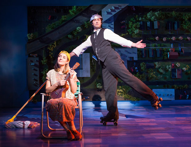 Hannah Elless and Bryce Pinkham in a scene from Benny & Joon, directed by Jack Cummings III, at The Old Globe.