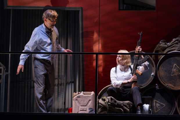 Howard Shalwitz and Kimberly Gilbert in The Arsonists, directed by Michael John Garcés, at Woolly Mammoth Theatre.