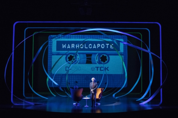 WARHOLCAPOTE features scenic design by Stanley Meyer and lighting design by Kevin Adams.