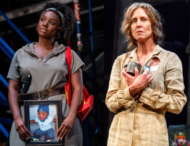 Saycon Sengbloh as Hester in In the Blood and Christine Lahti as Hester in F**cking A at the Pershing Square Signature Center.