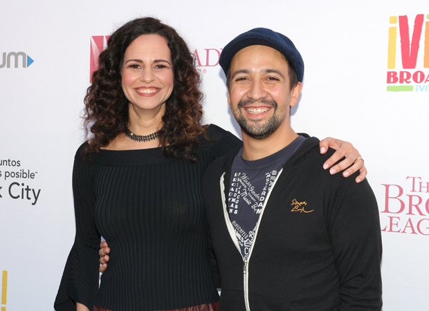 Mandy Gonzalez and Lin-Manuel Miranda at the 2017 Viva Broadway concert.