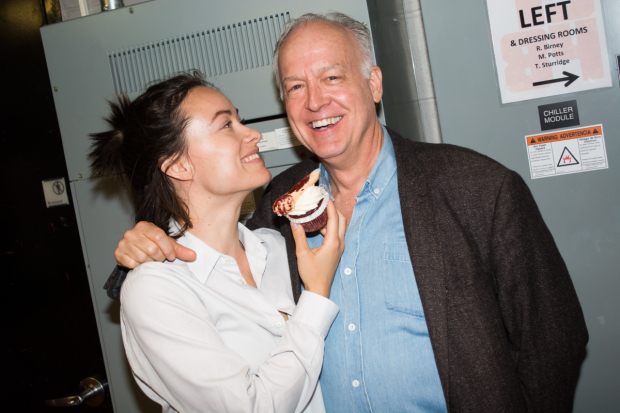 Olivia Wilde and Reed Birney get a laugh out of 1984's celebratory cupcakes after 101 performances.