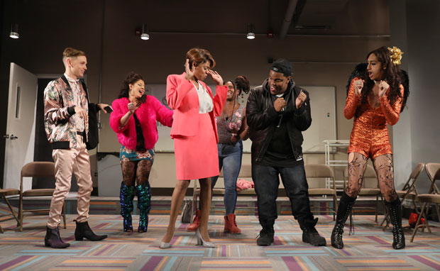The cast of Charm, directed by Will Davis, get down at the Lucille Lortel Theatre.