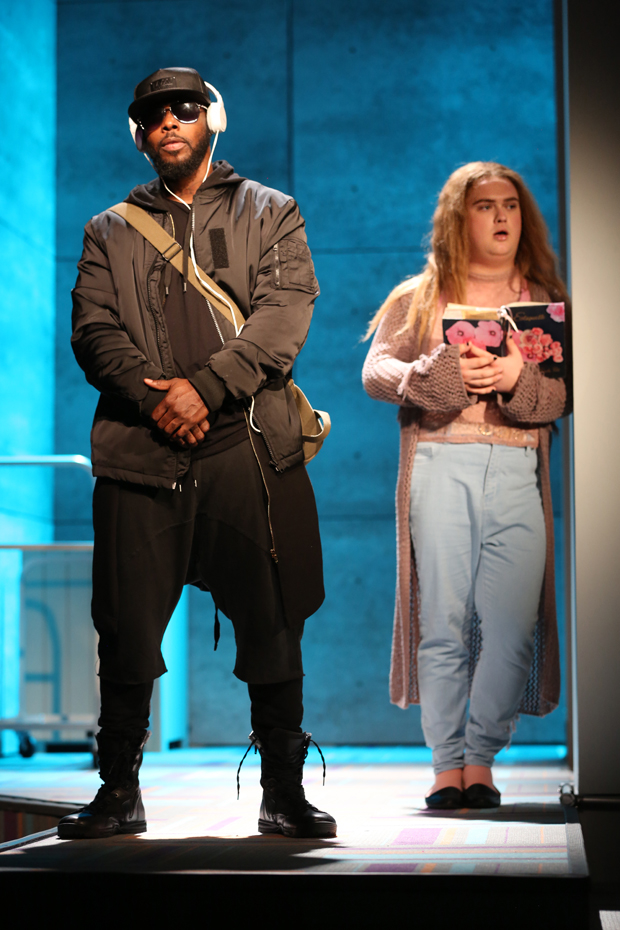 Marquise Vilson plays Beta, and Marky Irene Diven plays Lady in Charm at the Lucille Lortel Theatre.