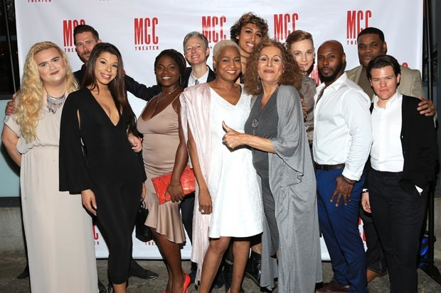 The company of Charm celebrate opening night at the Lucille Lortel Theatre.
