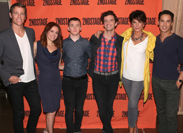 The cast of Torch Song: Ward Horton, Roxanna Hope Radja, Jack DiFalco, Michael Urie, Mercedes Ruehl, and Michael Rosen.