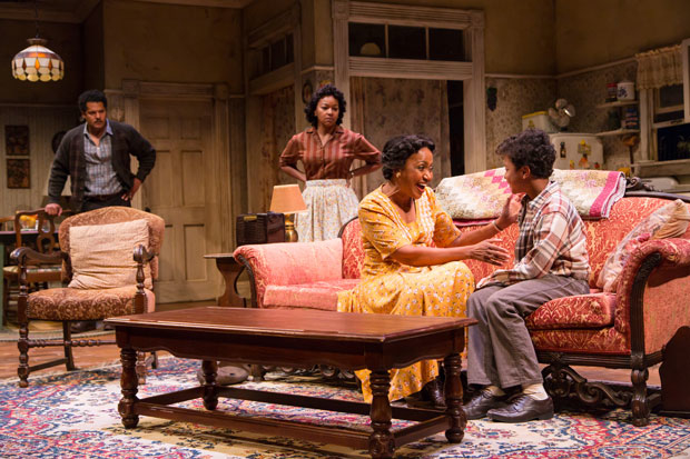 Brandon J. Dirden (Walter Lee Younger), Crystal A. Dickinson (Ruth Younger), Brenda Pressley (Lena Younger), and Owen Tabaka (Travis Younger) in A Raisin in the Sun at Two River Theater.