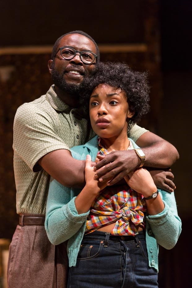 Charlie Hudson III (Joseph Asagai) and Jasmine Batchelor (Beneatha Younger) in A Raisin in the Sun at Two River Theater.