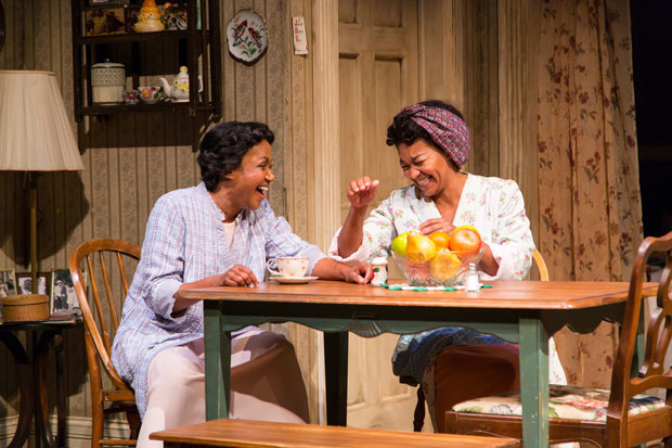 Brenda Pressley (Lena Younger) and Crystal A. Dickinson (Ruth Younger) in A Raisin in the Sun at Two River Theater.