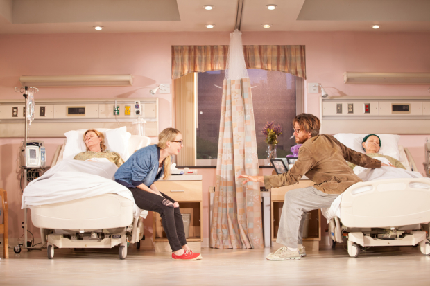 JoBeth Williams, Halley Feiffer, Jason Butler Harner, and Eileen T'Kaye in a scene from A Funny Thing Happened on the Way to the Gynecologic Oncology Unit at Memorial Sloan Kettering Cancer Center of New York City, directed by Trip Cullman, at the Geffen Playhouse.