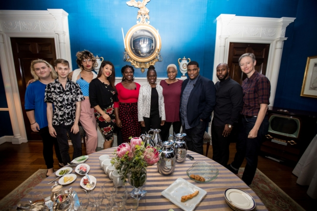 New York City First Lady Chirlane McCray grabs a photo with the cast of MCC's Charm.