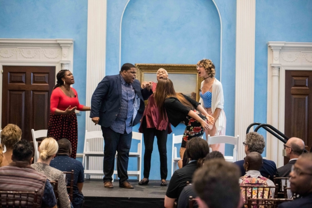 The cast of Charm perform at the Gracie Mansion.