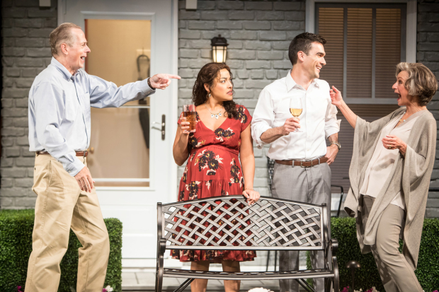 Steve Hendrickson (Frank Butley), Jacqueline Correa (Tania Del Valle), Dan Domingues (Pablo Del Valle), and Sally Wingert (Virginia Butley) in Native Gardens, directed by Blake Robison, at Arena Stage.