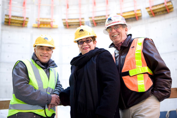 Architect Bing Thom, Molly Smith, and Mead Center for American Theater's Facility Project Director Guy Bergquist visit the construction site.