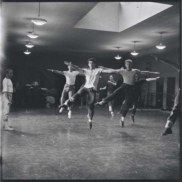 Dancers in rehearsal for the original stage production of West Side Story.