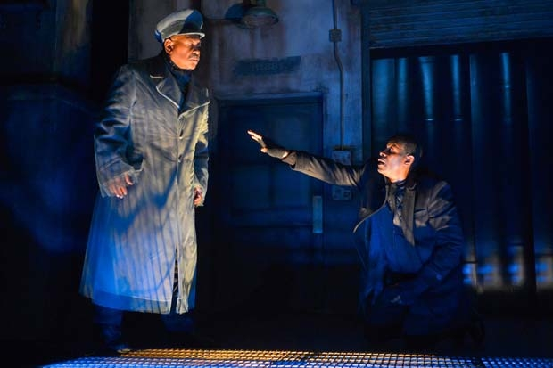 John Douglas Thompson (right) is visited by the Ghost of his father (Steven Anthony Jones) in Hamlet, directed by Carey Perloff, at the American Conservatory Theater.
