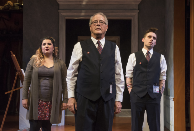 Karen Rodriguez (Madeline), Francis Guinan (Henry), and Ty Olwin (Dodger) in The Rembrandt, directed by Hallie Gordon, at Steppenwolf Theatre.