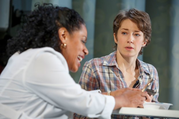 Liza Colón-Zayas and Carrie Coon in Mary Jane, directed by Anne Kauffman.