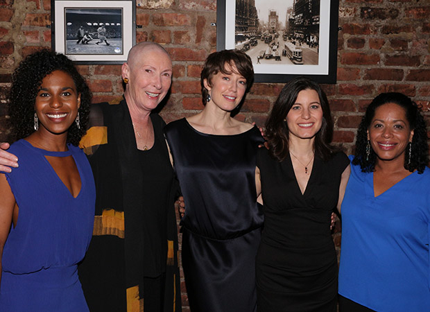 The cast of Mary Jane:  Dayana Esperanza, Brenda Wehle, Carrie Coon, Susan Pourfar, and Liza Colón-Zayas.