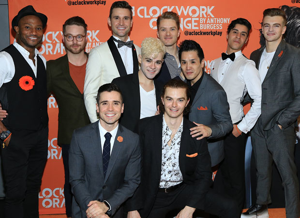 The cast of A Clockwork Orange celebrates its opening night.