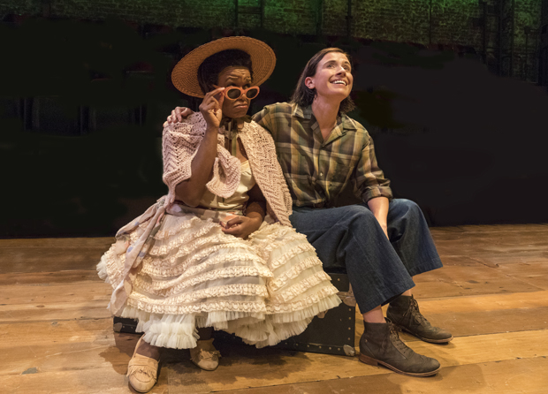Quincy Tyler Bernstine plays Celia, and Hannah Cabell plays Rosalind in As You Like It.