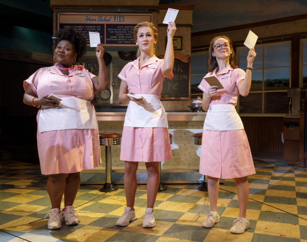 Maia Nkenge Wilson, Stephanie Torns, and Caitlin Houlahan in their new Waitress costumes.