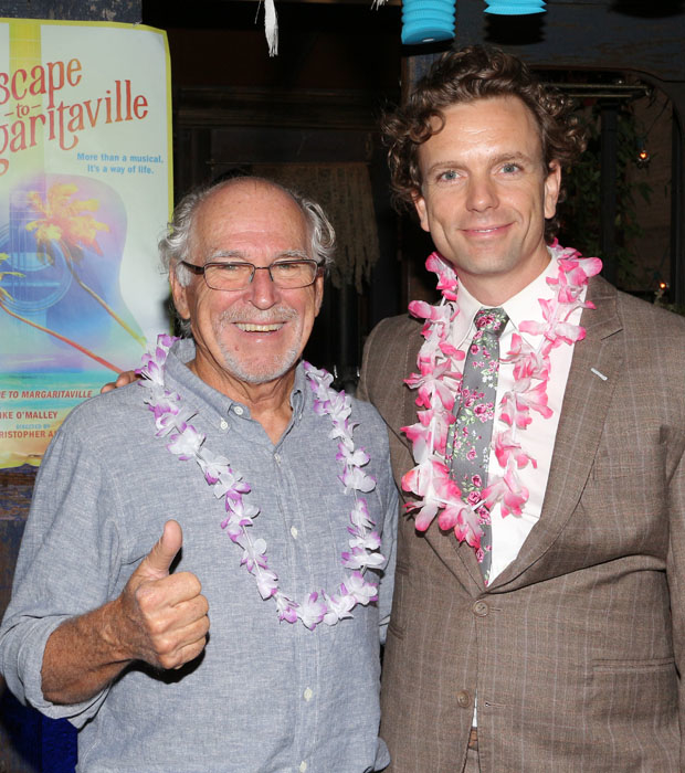 Music icon Jimmy Buffett gives Paul Alexander Nolan a thumb's up as the company of Escape to Margaritaville prepares for its pre-Broadway tour.