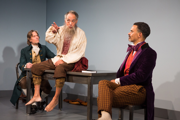 Michael Laurence plays Thomas Jefferson, Thom Sesma plays Leo Tolstoy, and Duane Boutté plays Charles Dickens in Scott Carter's Discord at the Cherry Lane Theatre.