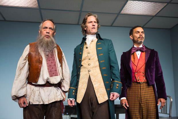 Thom Sesma, Michael Laurence, and Duane Boutté star in Scott Carter's The Gospel According to Thomas Jefferson, Charles Dickens and Count Leo Tolstoy: Discord, directed by Kimberly Senior, for Primary Stages at the Cherry Lane Theatre.