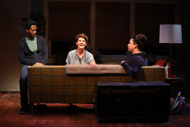 Hubert Point-Du Jour, Nia Vardalos, and Natalie Woolams-Torres in a scene from Tiny Beautiful Things, adapted by Vardalos and directed by Tommy Kail, at the Public Theater.