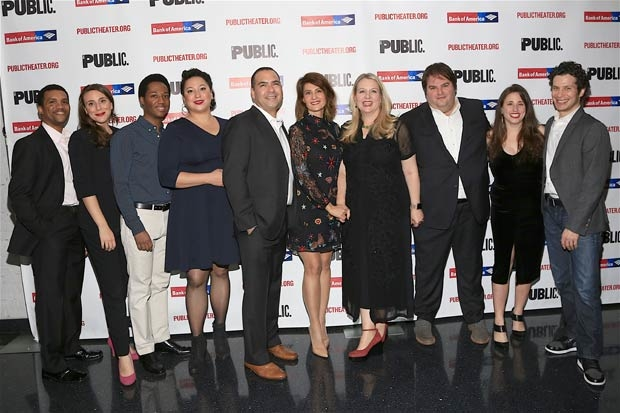 The company of Tiny Beautiful Things celebrates opening night at the Public Theater.