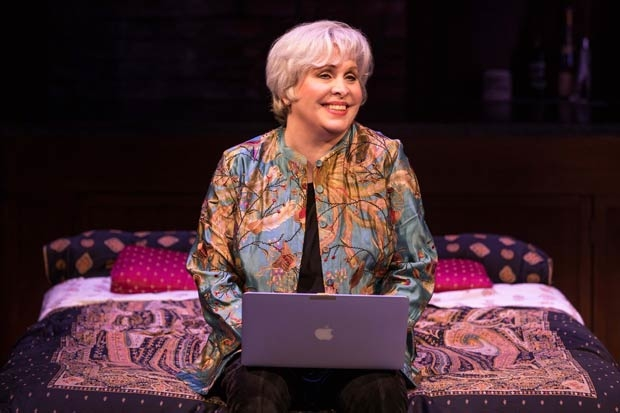 Nancy Opel stars as Bobby in Curvy Widow at the Westside Theatre.